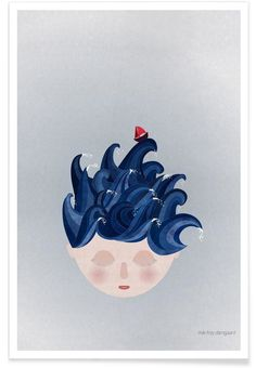 Musings Waves als Premium Poster von Mie Frey Damgaard Waves, Baby Love, Disney Characters, Fictional Characters, Poster, Nursery, Disney Princess, Portrait, Illustration