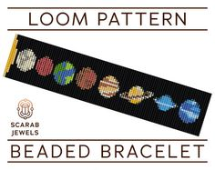 Solar System Pattern | Loom Beading Bracelet | Cuff Bead Pattern | Miyuki Delica | PDF Instant Download