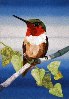 LITTLE ANNA HUMMINGBIRD: Art Quilt, Bird Art, Gift, Textile Art ... : hummingbird quilts - Adamdwight.com