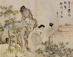 (Korea) The young master calling the maid by Shin Yun-bok ? brush ink and color. Korean Art, Asian Art, Korean Traditional, Traditional Art, Vietnam, Korean Painting, Comic Pictures, Old Paintings, Traditional Paintings