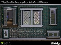 """""""The New Sir Cunningham Windows"""" by Mutske.  Subscriber only.  Set includes 9 windows, 2 doors, and 1 arch that looks like a sliding glass door (does not actually function) to match EA's """"Sir Cunningham"""" windows.  Recolorable."""