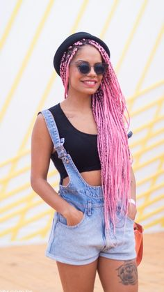 Magá Moura Dope Hairstyles, African Hairstyles, Braided Hairstyles, Afro Braids, African Braids, Pink Box Braids, Curly Hair Styles, Natural Hair Styles, Braids With Extensions