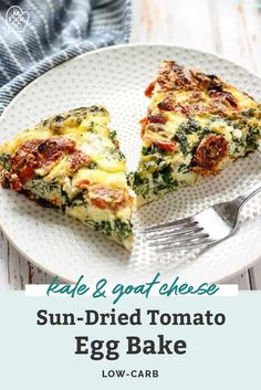 This healthy and low carb Kale Goat Cheese & Sun-Dried Tomato Egg Bake is sure to please a crowd. Perfect for brunch gatherings! Healthy Breakfast Recipes, Healthy Baking, Brunch Recipes, Vegetarian Recipes, Dinner Recipes, Healthy Recipes, Healthy Eats, Egg Recipes, Breakfast Ideas