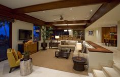 like the open floor plan for livingroom/kitchen with step down division