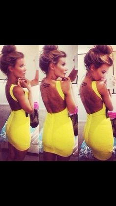 Details about Sexy Ladies Yellow V-neck Backless Bodycon Dress