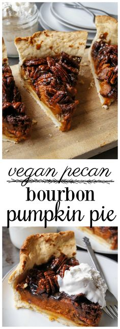 This is the best pie EVER. The pumpkin filling is creamy with a hint of bourbon which is nicely balanced by the candied pecans. It's fairly simple to make and looks so pretty! Vegan Treats, Vegan Snacks, Easy Snacks, Vegan Desserts, Just Desserts, Vegan Food, Vegetarian Sweets, Vegan Recipes, Pumpkin Pecan Pie