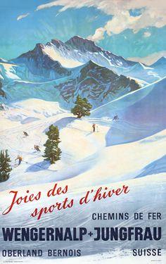 Joies des sports d'hiver - Wengernalp + Jungfrau, 1955. Vintage Swiss travel poster.