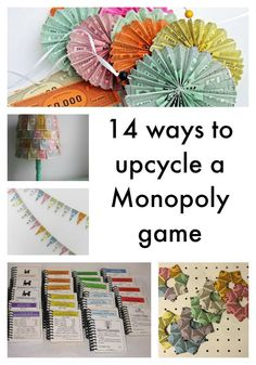 14 ways to upcycle a Monopoly game including deed card note books, game board clock, game token charm bracelet and Monopoly money bunting Best Picture For homemade Board Games For Your Taste You are l Monopoly Themed Parties, Monopoly Party, Monopoly Money, Monopoly Game, Monopoly Classroom, Monopoly Board, Board Game Themes, Old Board Games, Game Boards