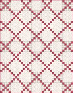 Sew Block Quilt Country Lanes Quilt Block in a single Irish Chain - Single Irish Chain Quilt Patterns: Online Instructions. Learn to make this easy quilt pattern for beginners. Several layouts and easy quilt blocks to choose from. Beginner Quilt Patterns, Quilt Block Patterns, Quilt Tutorials, Quilt Blocks, Irish Chain Quilt, Two Color Quilts, Red And White Quilts, White Fabrics, Nine Patch Quilt