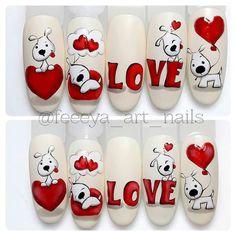 Make an original manicure for Valentine's Day - My Nails Cute Acrylic Nails, Cute Nails, Holiday Nails, Christmas Nails, Nail Art Coeur, Animal Nail Art, Nail Art Designs Videos, Valentine Nail Art, Disney Nails