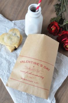 Vday printables! I love the idea of printing on paper bags.