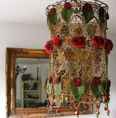 Handmade Lamp Shade   Lovely  Rose Garden Hanging  lamp by AnatBon, $70.00