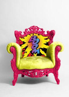 Imagen de art, furniture, and chair Art Furniture, Graffiti Furniture, Funky Painted Furniture, Painted Chairs, Unique Furniture, Repurposed Furniture, Furniture Makeover, Furniture Design, Graffiti Bedroom