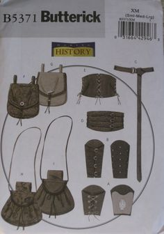 Corset Pouch Bracer historical Costume Sewing Pattern Butterick 5371 Mens S M L. $6.00, via Etsy.