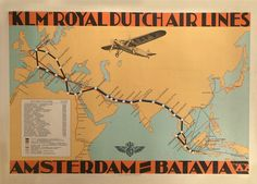 Vintage Aviation & Travel HOLLAND KLM Royal Dutch Airlines AMSTERDAM - BATAVIA c1931 Reproduction Aviation Poster on 200gsm A3 Satin (Low Gloss) Art Card: Amazon.co.uk: Kitchen & Home