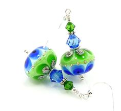 Blue & Green Earrings Lampwork Earrings Glass by BeadzandMore