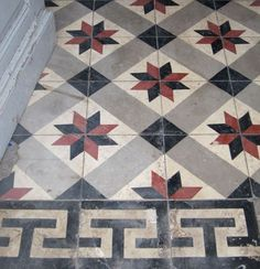 This is Our Rare Collection of Ancient Encaustic Cement Tiles by Ancient Surfaces Modern Flooring, Encaustic Tile, Asian Decor, Stone Mosaic, Painted Floors, Floor Design, Tile Patterns, Wall Tiles, Tile Floor
