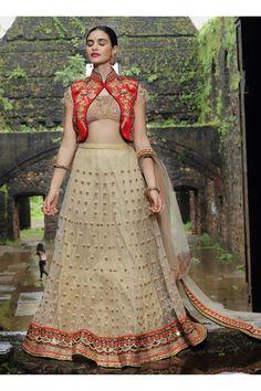 Salwar Web Beige Net Wedding Wear Multi Thread Embroidery Work Lehenga Choli