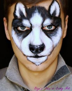 Pin by Karyn Hicks on Face painting Animal makeup, Dog face halloween makeup dog face - Halloween Makeup Face Painting Images, Animal Face Paintings, Face Painting For Boys, Face Painting Designs, Animal Faces, Dog Face Paints, Wolf Face Paint, Husky Faces, Animal Makeup