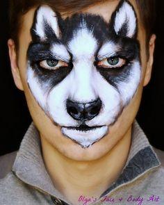 #husky #facepainting #huskypuppy #huskypup #dogfacepaint #facepaintings…