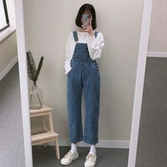 Swag Outfits, Girl Outfits, Cute Outfits, Ulzzang Fashion, Ulzzang Girl, Dungarees Outfits, Style Me, Cool Style, Tumblr Fashion