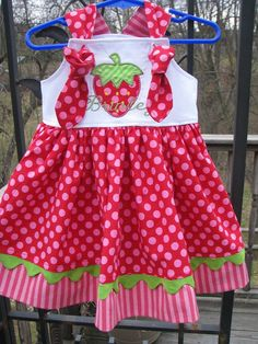 red and pink strawberry knot dress by PJQuilts on Etsy, $38.00