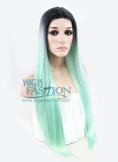 """27"""" Long Straight Light Green With Dark Roots Fashion Synthetic Hair Wig WIG168 - Wig Is Fashion"""
