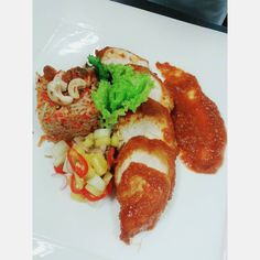 this is a western style.  1-nasi briyani 2-ayam masak merah 3-acar jelatah #vscocam #vscomalaysia #asiancuisine #foodporn by @safuanzubir - more recipes at www.tomcooks.com