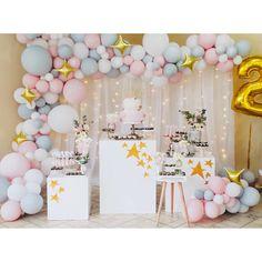Rainbow First Birthday, Baby Girl First Birthday, Happy Birthday Girl Quotes, Simple Birthday Decorations, Deco Ballon, Baby Shower Deco, Birthday Backdrop, Star Party, Birthday Parties