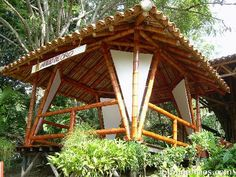 This type of enclosed gazebo is an extremely inspirational and impressive idea Bamboo House Design, Tiny House Design, Cabana, Enclosed Gazebo, Bamboo Building, Tent Living, Tiny House Loft, Bamboo Structure, Bamboo Architecture