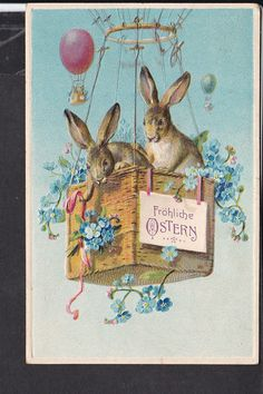 Postkarte Ostern ,Prägekarte, Balonkorb, Erika verlag   eBay