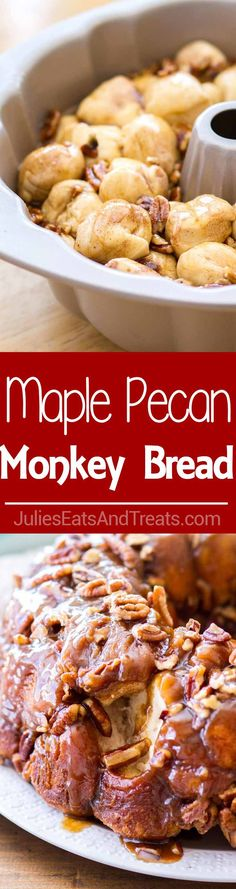 Maple Pecan Monkey Bread ~ Homemade Monkey Bread made with biscuits, baked in a maple pecan caramel sauce! Makes the best fall breakfast recipe, and a delicious Thanksgiving brunch recipes!