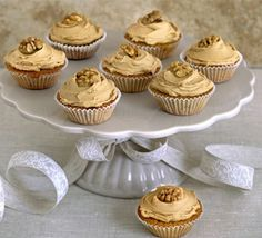 Retro favourite coffee and walnut cake in a cupcake version, with a choice of luxurious mascarpone topping or classic buttercream