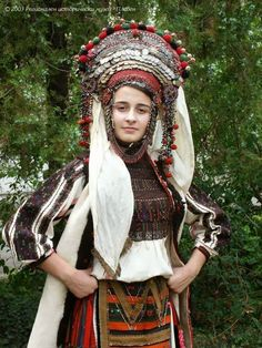 Bulgarian bride in a coin headdress