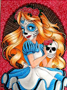Sugar Skull Alice by SJK-Drawings. Dia de los Muertos (Day of the Dead) Alice In Wonderland Art Disney, Disney Kunst, Disney Love, Disney Collage, Punk Disney, Day Of The Dead Art, Sugar Skull Art, Sugar Skulls, Sugar Skull Painting