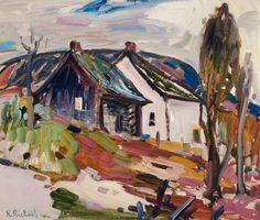 Rene Richard - Farmhouse in a Landscape x Oil on board Canadian Painters, Farmhouse, Oil, Landscape, Board, Painting, Scenery, Rural House, Painting Art