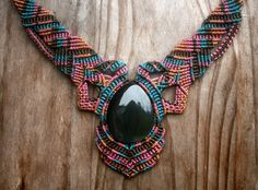 Macrame Necklace with black obsidian. $110.00, via Etsy.