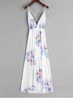 Shop for Slit Open Back Floral Maxi Dress WHITE: Maxi Dresses S at ZAFUL. Only $27.88 and free shipping!