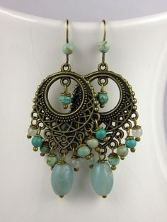 Pale blue chandelier earrings
