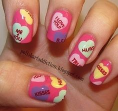Valentines day nails: Candy hearts
