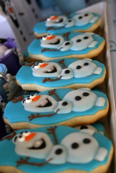 Fun Olaf cookies at a Frozen birthday party!  See more party planning ideas at CatchMyParty.com!