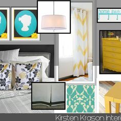 Grey yellow and teal