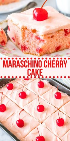 Homemade maraschino cherry cake has a moist, buttery-soft texture, beautiful pink color, delicious cherry flavor, and fluffy cherry frosting. Can be made a layer cake too. Mini Desserts, Cherry Desserts, Cherry Recipes, Just Desserts, Delicious Desserts, Dessert Recipes, Best Cherry Cake Recipe, Easy Homemade Desserts, Oreo Dessert