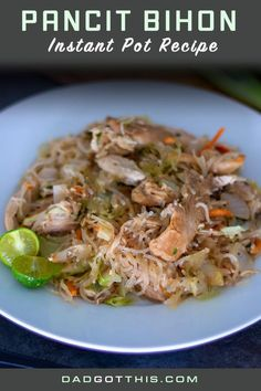 Dad's Instant Pot Pancit Bihon recipe is easy, fast and delicious. Dad uses chic. - Dad's Instant Pot Pancit Bihon recipe is easy, fast and delicious. Dad uses chicken, fresh vegeta - Filipino Dishes, Filipino Recipes, Greek Recipes, Asian Recipes, Ethnic Recipes, Filipino Food, Filipino Pancit, Entree Recipes, Instant Pot