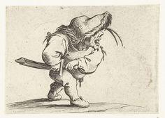 Jacques Callot   Dwerg met zwaard, in aanvallende houding, Jacques Callot, 1621 - 1625   Dwerg, op de rechterzijde gezien, een slappe hoed met bontrand op het hoofd, de rechterhand aan de schede van zijn zwaard, de linkerhand aan het gevest. Deze prent is onderdeel van een serie van 21 prenten met groteske figuren; vrijwel al die figuren zijn dwergen, velen zijn gebocheld.