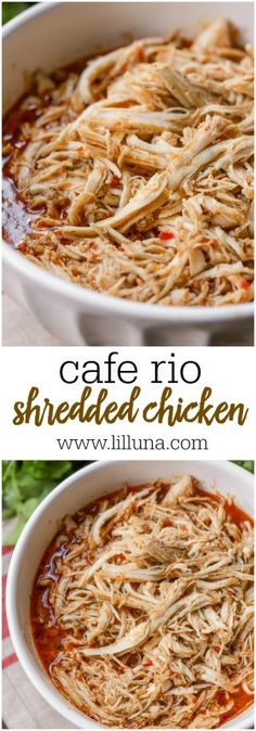 Copycat Cafe Rio Shredded Chicken - a simple and delicious chicken recipe that is perfect for salads, burritos, quesadillas and tacos!
