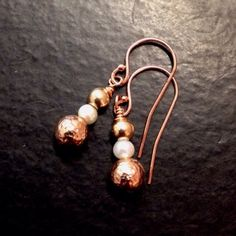 These cute rose gold earrings are the perfect gift for your wedding anniversary. They also make great Christmas gifts. I mixed yellow gold and rose gold metals to create these lovely dangles. Rose Gold Pearl, Rose Gold Jewelry, Rose Gold Earrings, Pearl Earrings, Drop Earrings, 30th Anniversary Gifts, 1st Wedding Anniversary, Anniversary Jewelry, Unique Jewelry