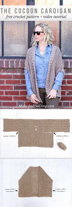 This modern, draped cocoon cardigan free crochet pattern is made from two rectangles, making it a quick and easy project for a confident beginner. Crochet Cocoon, Free Crochet, Knit Crochet, Make And Do Crew, How To Make, Knitting Patterns, Crochet Patterns, Cocoon Cardigan, Crochet Videos