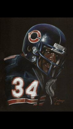 Beautiful image of the great Walter Payton by artist Tony Santiago. Check out his stuff. Nfl Football Players, Best Football Team, Football Memes, Football Cards, Nfl Bears, Bears Football, Football Baby, School Football, Chicago Bears Wallpaper