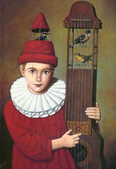 boy with guitar and birds - rafal olbinski